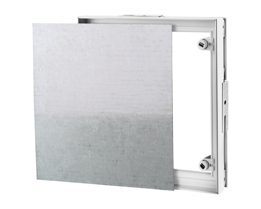Access doors on a PVC frame for attaching ceramic tiles.