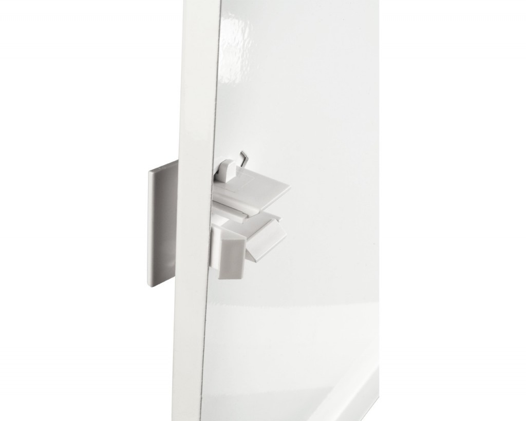 Plastic handle provides additional convenience while opening and closing.