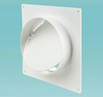 Connector with backdraft damper and wall plate for round ducts