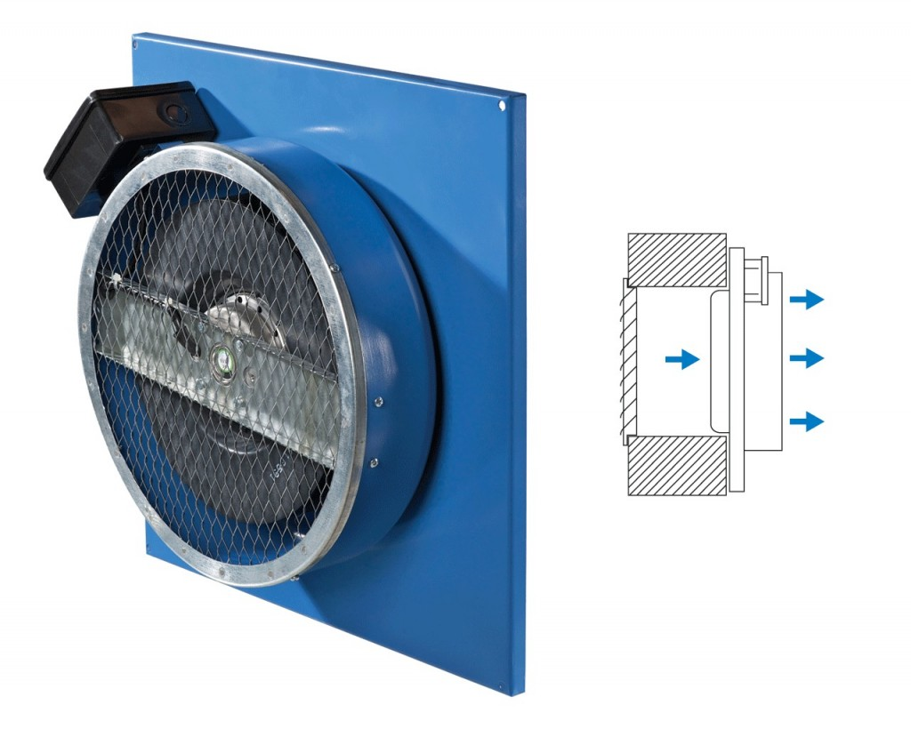 Supply fan for surface wall mounting (VC-PN).